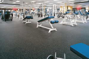 Flooring for gyms and athletic facilities can be made using recycle tire rubber