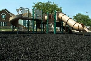 Playground surfacing made out of rubber chips