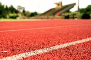 Recycled tire pellets can be used to create indoor or outdoor running tracks.
