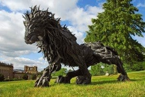 Artist Yong Ho Ji creates sculptures using recycled tires. This piece is 'Lion 2' from 2008.