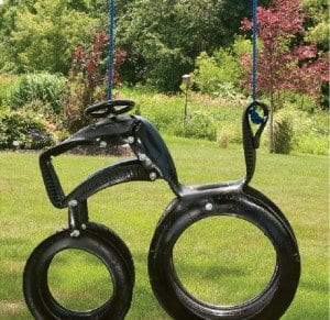 Swings such as this are made by carefully cutting patterns out of a tire, then bolting pieces together.