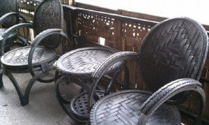 Recycled tires can be used to create outdoor or patio furniture