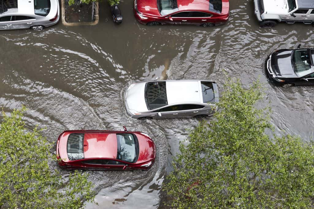 car flooded from hurricane